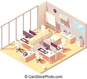 Vector Isometric office with cubicle - Vector isometric ...