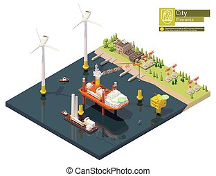Vector isometric offshore wind farm construction