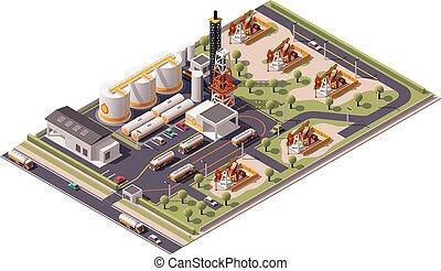Vector isometric oil field icon - Isometric icon set...