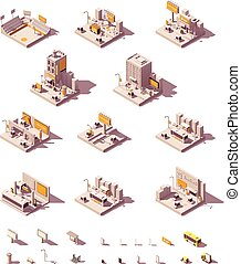 Vector isometric outdoor advertising examples