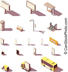 Vector isometric outdoor advertising media set