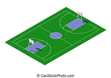 Vector isometric outdoor public basketball court