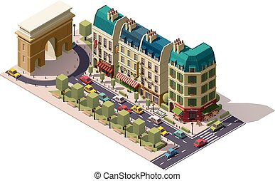 Vector isometric Paris street - Isometric Parisian street...