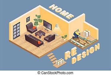vector., isometric., parquet., arbeiter, redesign., liegende , interior., daheim