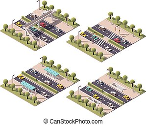 Vector isometric pedestrian crossings set - Set of the...