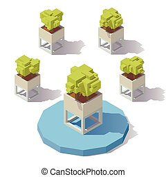Vector isometric plant pot - Vector isometric low poly...