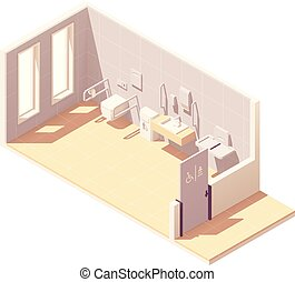 Vector isometric public accessible toilet with baby changing...