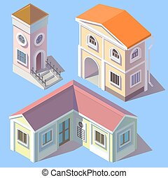 Vector isometric residential buildings in cartoon style