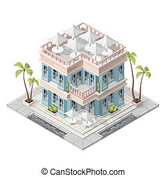 Vector isometric restaurant building