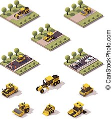 Vector isometric road surface making technology - Isometric...