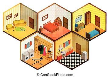 Vector isometric rooms icon