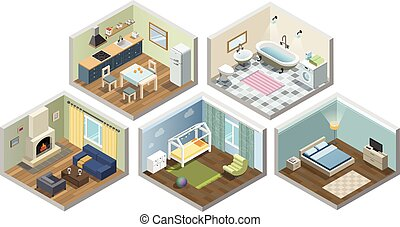 Vector isometric sat of home or flat furniture, Different kind of rooms