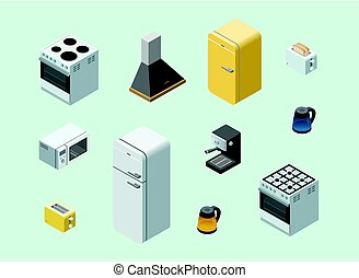 Vector isometric set of home electric equipment