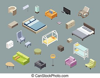 Vector isometric set of living room and bedroom furniture