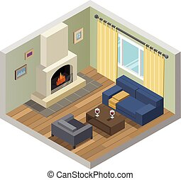 Vector isometric set of living room furniture with fireplace