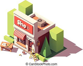 Vector isometric shop branding icon