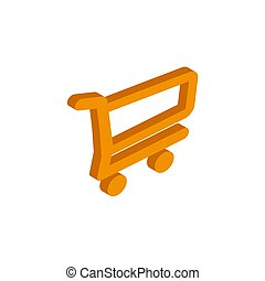 Vector isometric shopping cart icon on a white background
