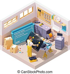 Vector isometric smartphone repair illustration. Mobile phone repair and service. Service worker or technician installing new LCD screen on disassembled mobile. Broken screen replacement