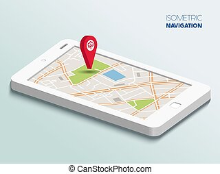 Isometric smartphone with map