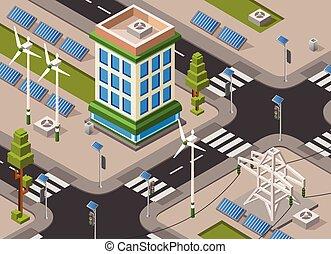 Vector isometric solar wind energy city street