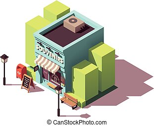 Vector isometric souvenir gift shop with signboard and...