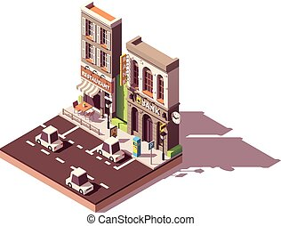 Vector isometric street car parking