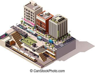 Vector isometric subway station cross section