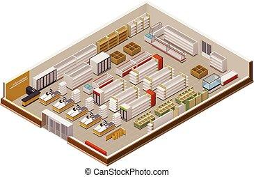 Vector isometric supermarket cutaway