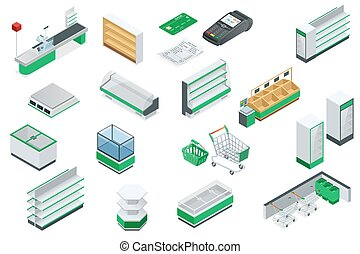Vector isometric supermarket interior plan.