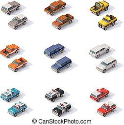 Vector isometric SUVs set - Set of the isometric SUVS and...