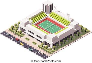 Vector isometric tennis arena