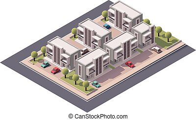 Vector isometric townhouses set - Isometric icon set ...