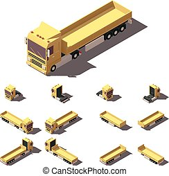 Vector isometric truck with cargo semi-trailer icon set