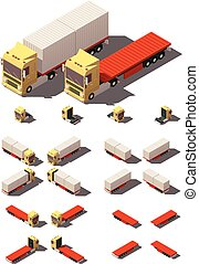 Vector isometric truck with container semi-trailer icon set...