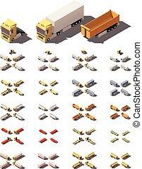 Vector isometric trucks with semi-trailers icon set - Vector...