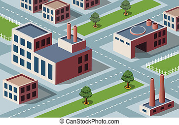 industrial district - Vector isometric view of the ...