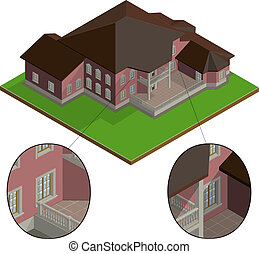Vector isometric villa