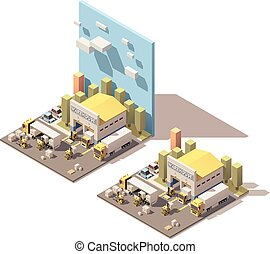 Vector isometric warehouse building icon with trucks loaded by forklifts
