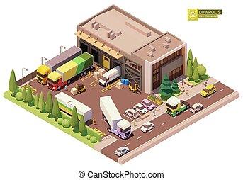 Vector isometric warehouse building