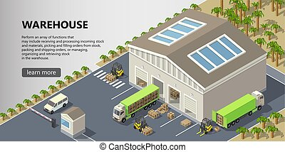 Vector isometric warehouse, delivery service