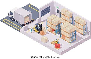 Vector isometric warehouse interior