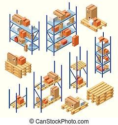 Vector isometric warehouse shelvings cardboard box