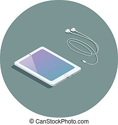 Vector isometric white tablet with headphones, 3d flat design device.