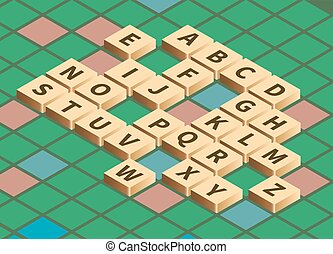 Vector isometric word puzzling game
