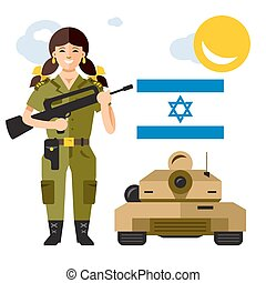 Vector Israel Army. Flat style colorful Cartoon...