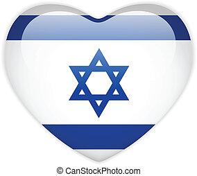 Israel Flag Heart Glossy Button - Vector - Israel Flag Heart...
