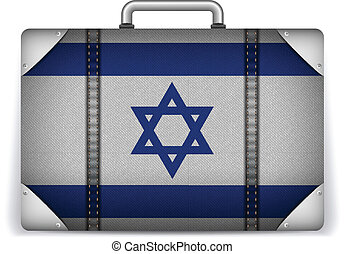 Israel Travel Luggage with Flag for Vacation - Vector -...