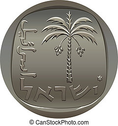 Vector Israeli agora coin with the image of the date palm -...