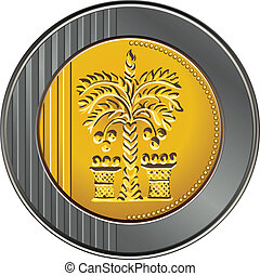 Vector Israeli shekel coin with the image of the date palm...