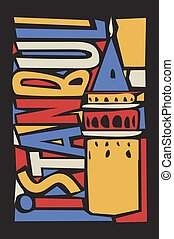vector istanbul linoleum style colorful city illustration